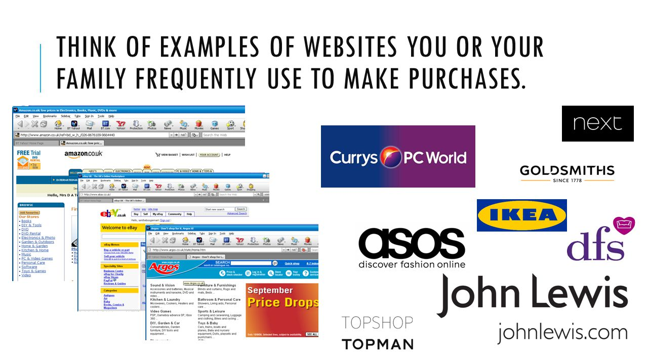 Think of examples of websites you or your family frequently use to make purchases.