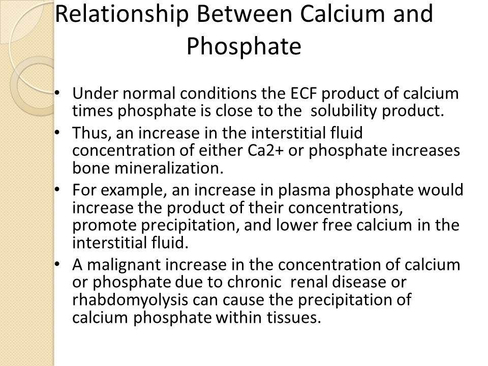 relationship between calcium and phosphorus