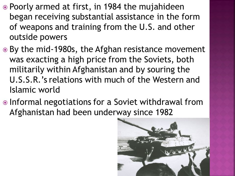 u s intervention in the ussr mujahideen The soviet-afghan war (december 24, 1979 - february 15, 1989) was a key element in the collapse of the soviet empirethe conflict was fomented by their cold war enemy the united states who secretly donated billions to the islamic factions known as the mujahideen, directly through the central intelligence agency and their relationship with pakistan's secret service, the isi.