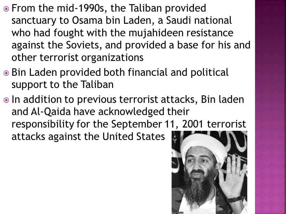 terrorism and the united states hunt for osama bin laden From target: bin laden: the united states began its hunt for osama bin laden at a time when few americans had even heard his name it was 1996 when president bill clinton first gave the order to the cia to capture or kill the al qaeda leader we had linked him to two bombings in saudi arabia that killed us soldiers and the president said.