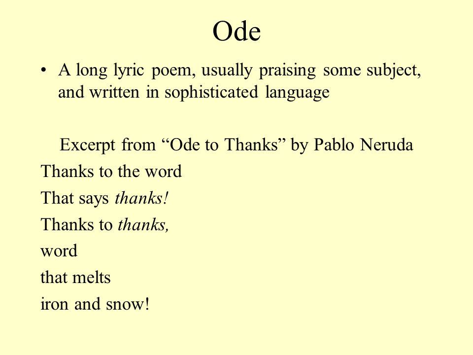 Excerpt from Ode to Thanks by Pablo Neruda