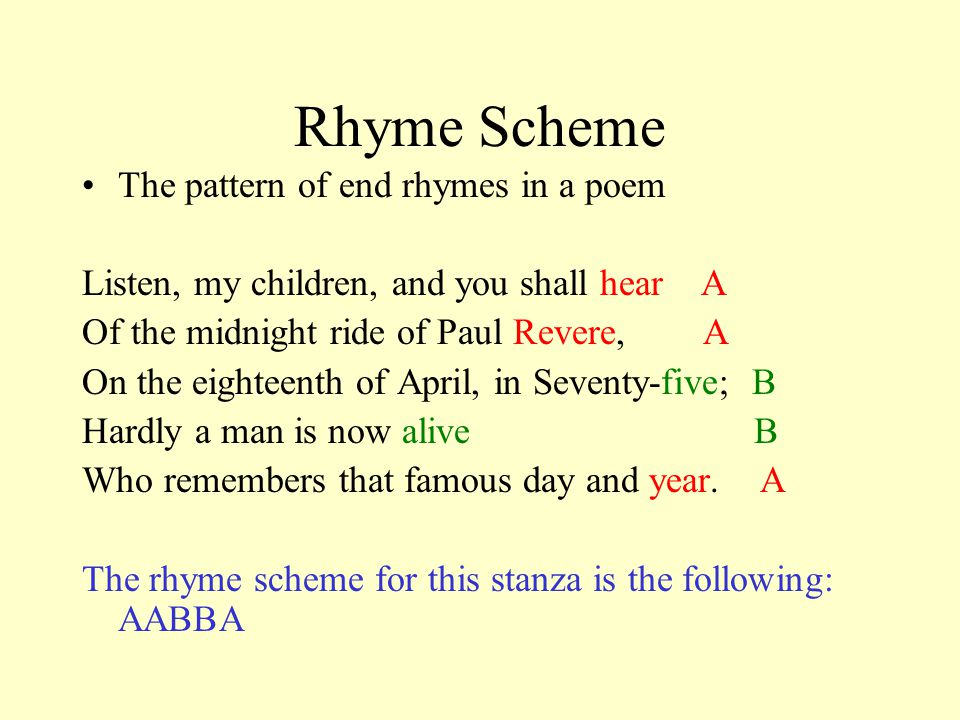 Rhyme Scheme The pattern of end rhymes in a poem