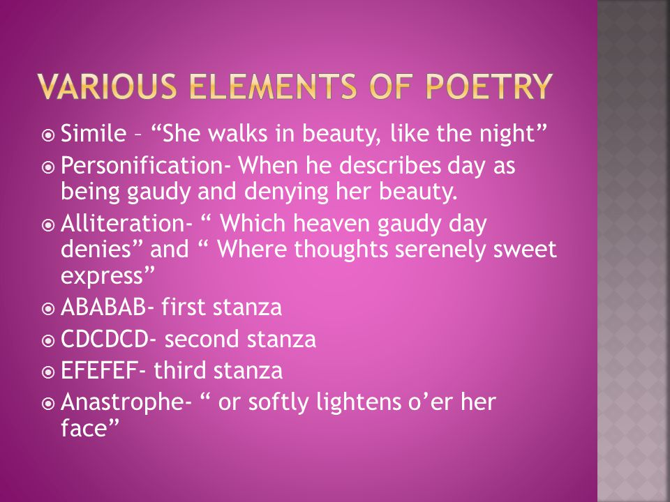 Various elements of poetry