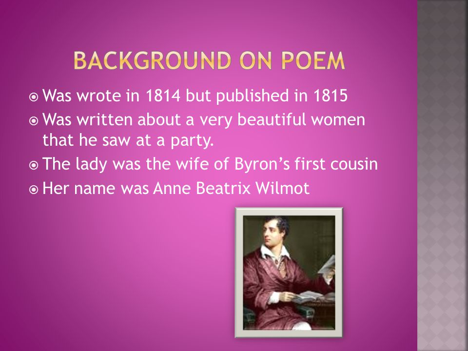 Background on poem Was wrote in 1814 but published in 1815