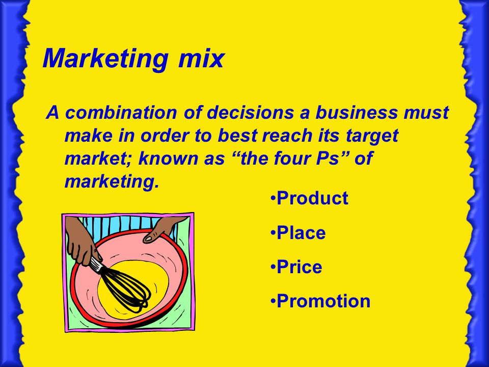 Marketing mix A combination of decisions a business must make in order to best reach its target market; known as the four Ps of marketing.
