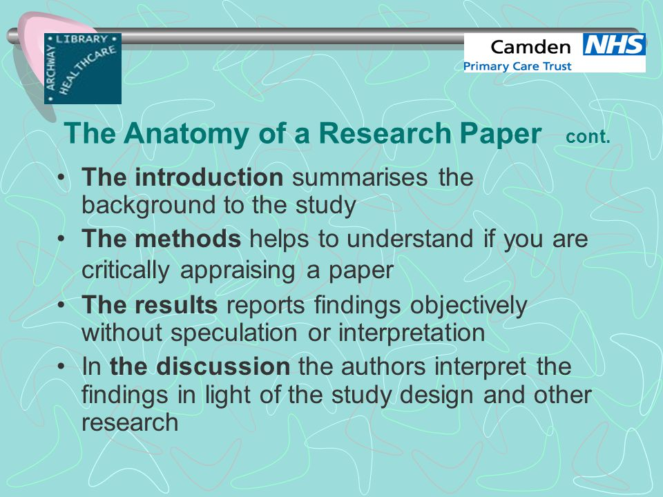 critical appraisal of research papers About this event this day course will allow delegates to: develop a reliable approach to the evaluation and appraisal of published clinical research papers.