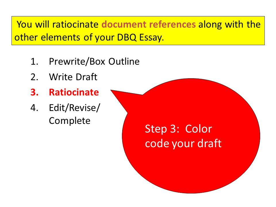"""elements of a dbq essay We explain exactly what writing a dbq essay  """"this soccer ball is a good purchase for my friend because it has all the elements  the document-based question."""
