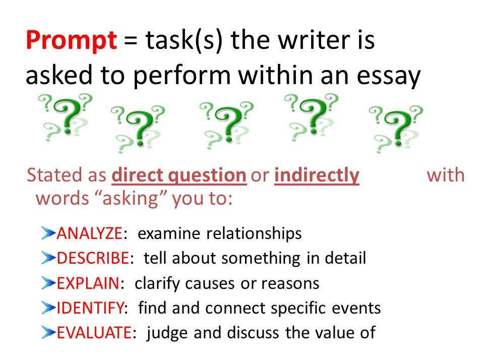 Prompt = task(s) the writer is asked to perform within an essay