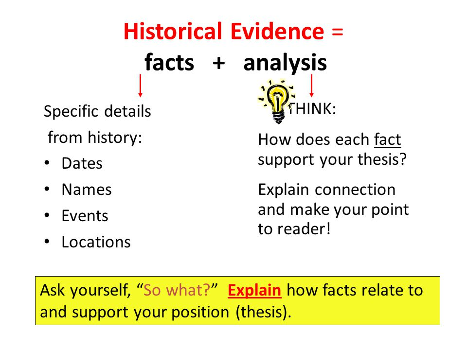 Historical Evidence = facts + analysis