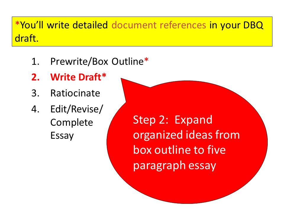 *You'll write detailed document references in your DBQ draft.