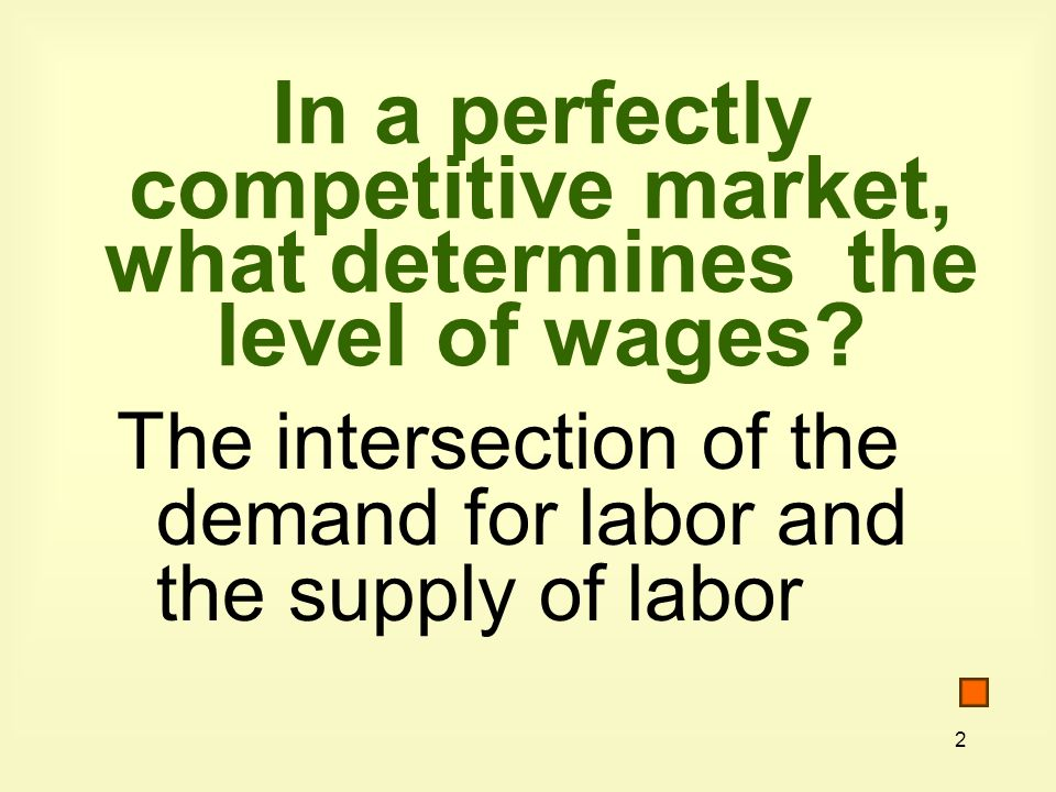 In a perfectly competitive market, what determines the level of wages