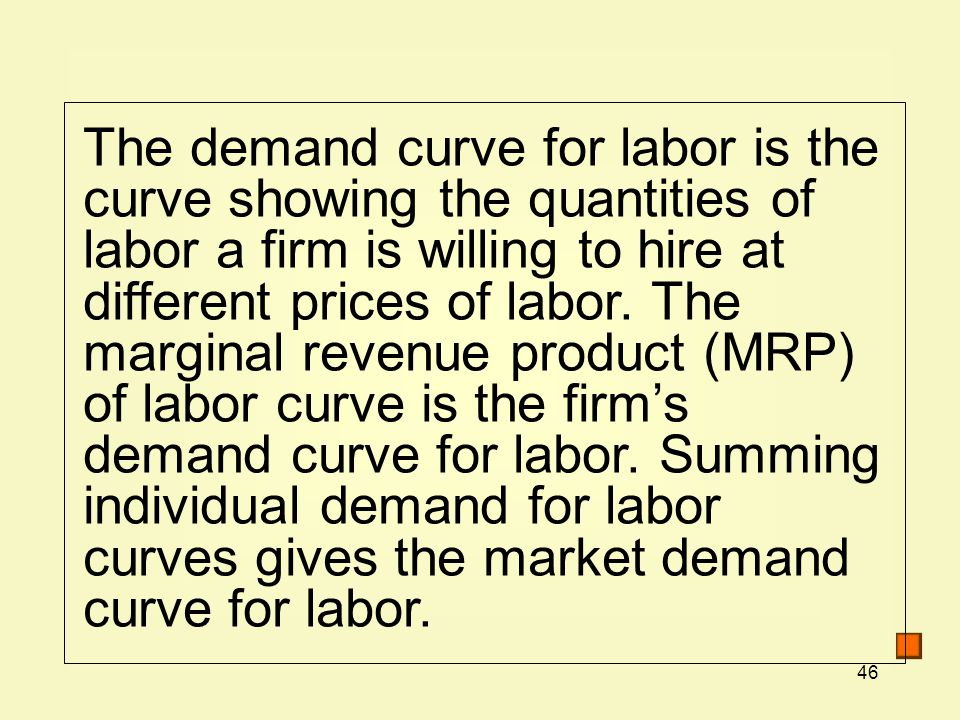 The demand curve for labor is the curve showing the quantities of labor a firm is willing to hire at different prices of labor.