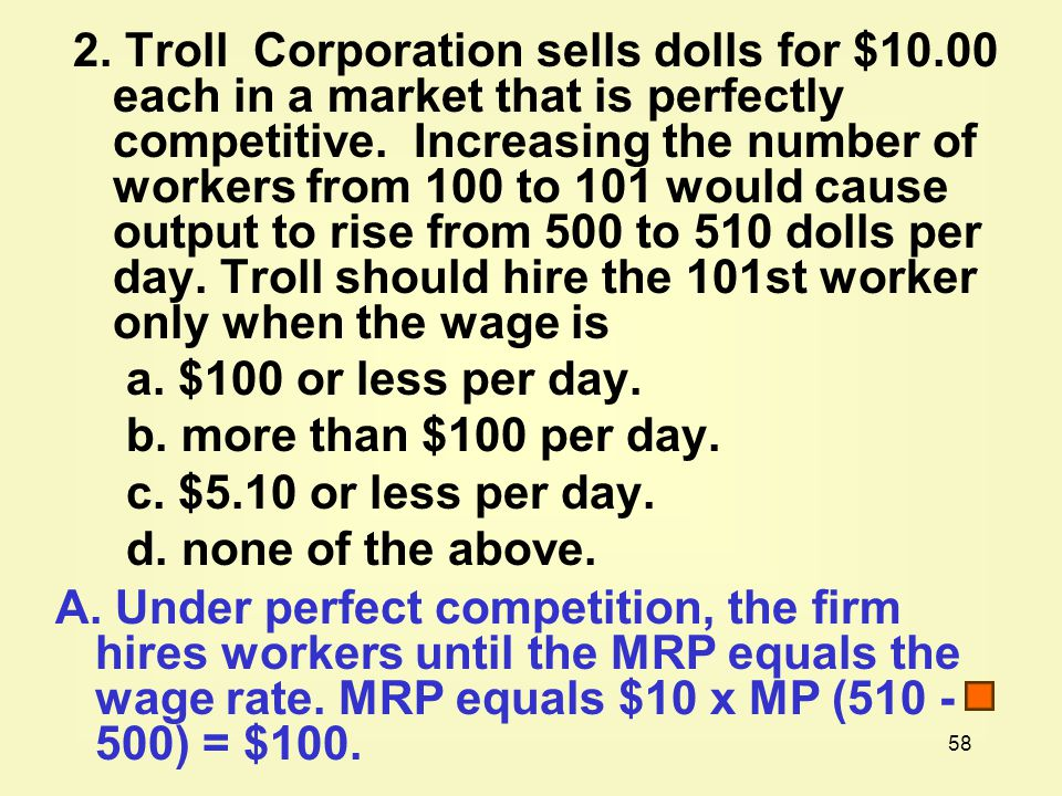 2. Troll Corporation sells dolls for $10