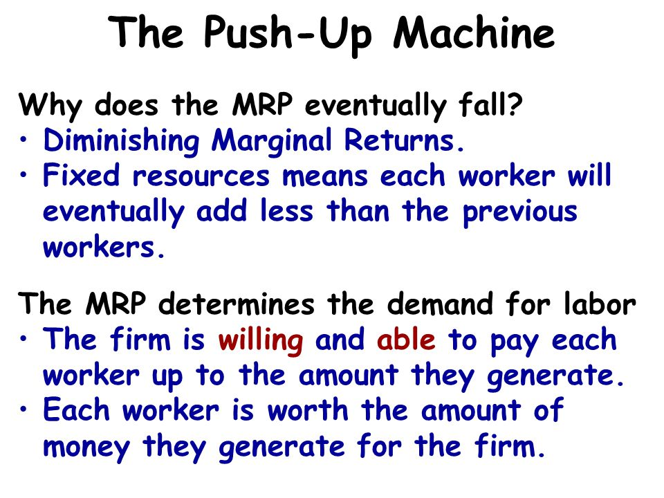 The Push-Up Machine Why does the MRP eventually fall