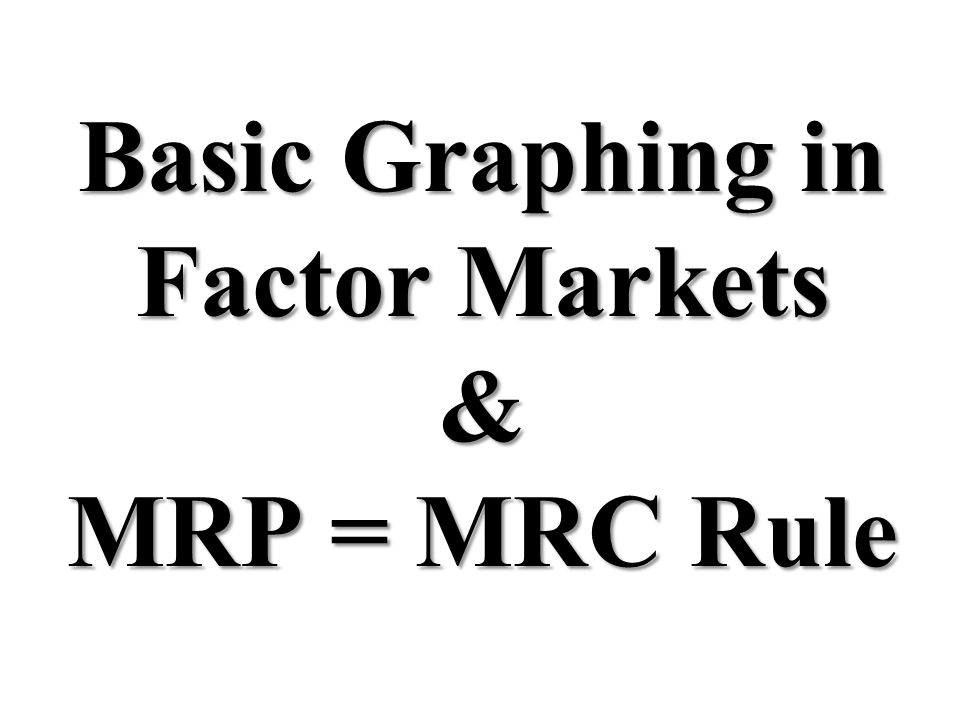 Basic Graphing in Factor Markets