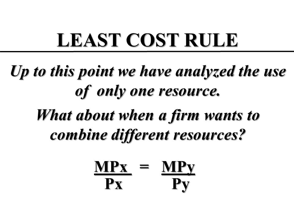 LEAST COST RULE Up to this point we have analyzed the use of only one resource. What about when a firm wants to combine different resources