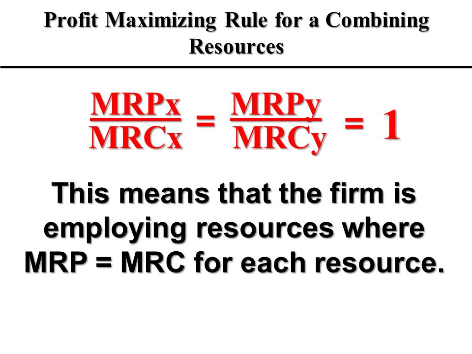 Profit Maximizing Rule for a Combining Resources