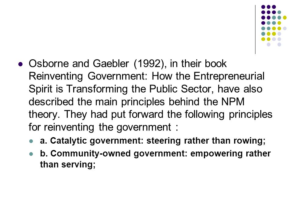 Book Report, Reinventing Government