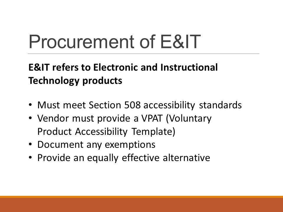 voluntary product accessibility template section 508 - accessible technology initiative ppt download