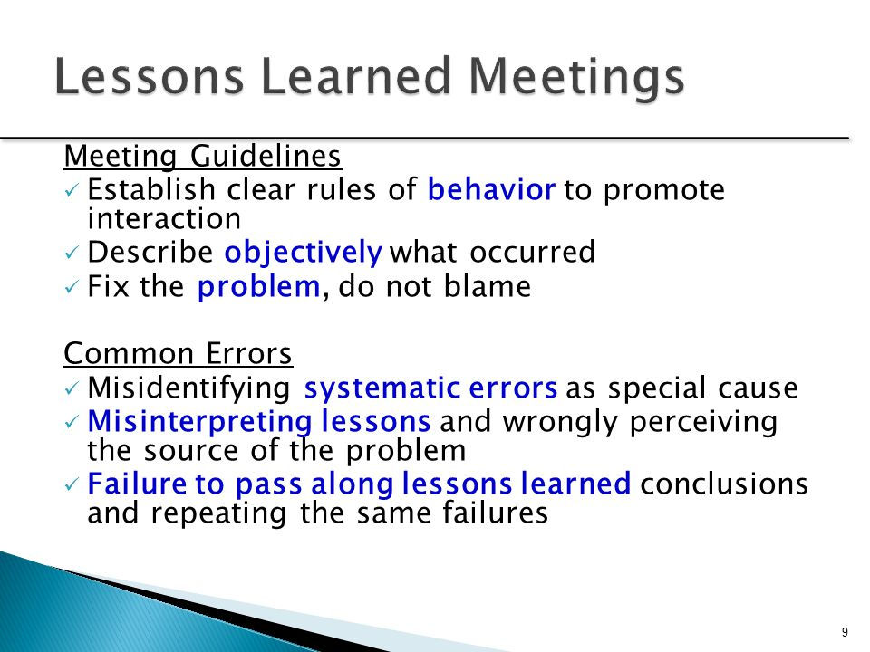 lessons learned meetings Lessons learned workshop meetings observation and techniques to evaluate projects and utilize lessons lessons learned as a necessary and.