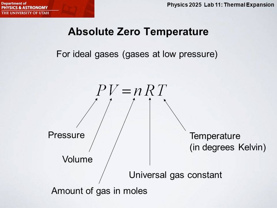 behavior of gases and absolute zero For all gases, that zero point (absolute zero) is (roughly) the same and although clearly the gas would no longer be a gas there, this is an important implication the separate laws can be combined into the ideal gas law, pv=nrt.