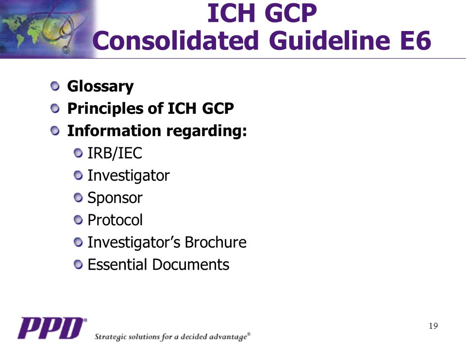 ICH GCP Consolidated Guideline E6