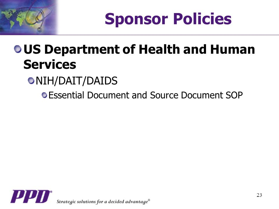 Sponsor Policies US Department of Health and Human Services