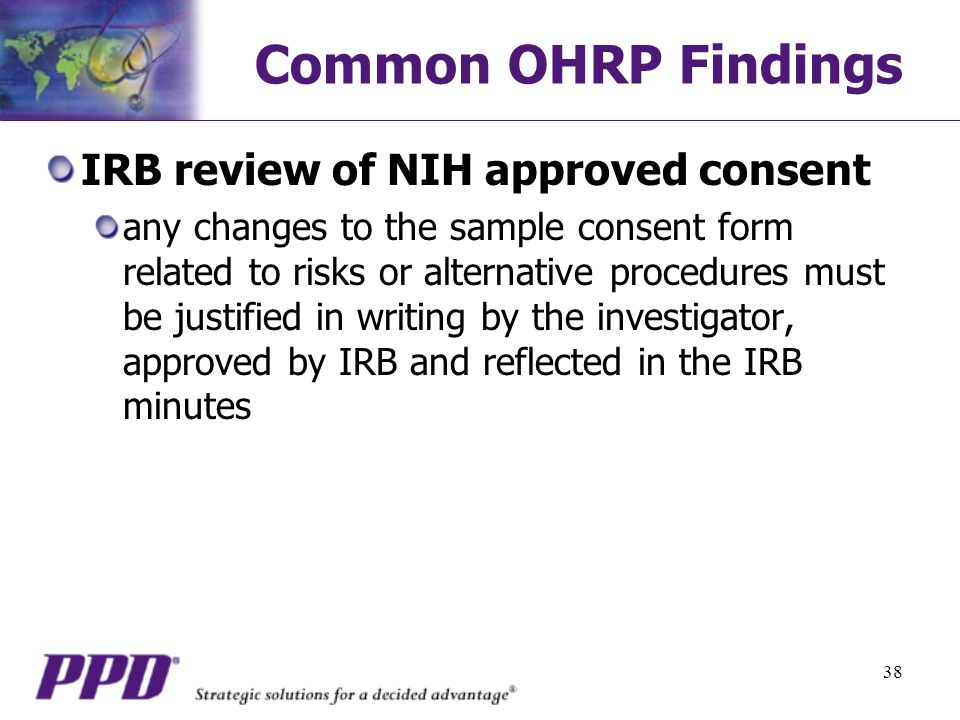 Common OHRP Findings IRB review of NIH approved consent
