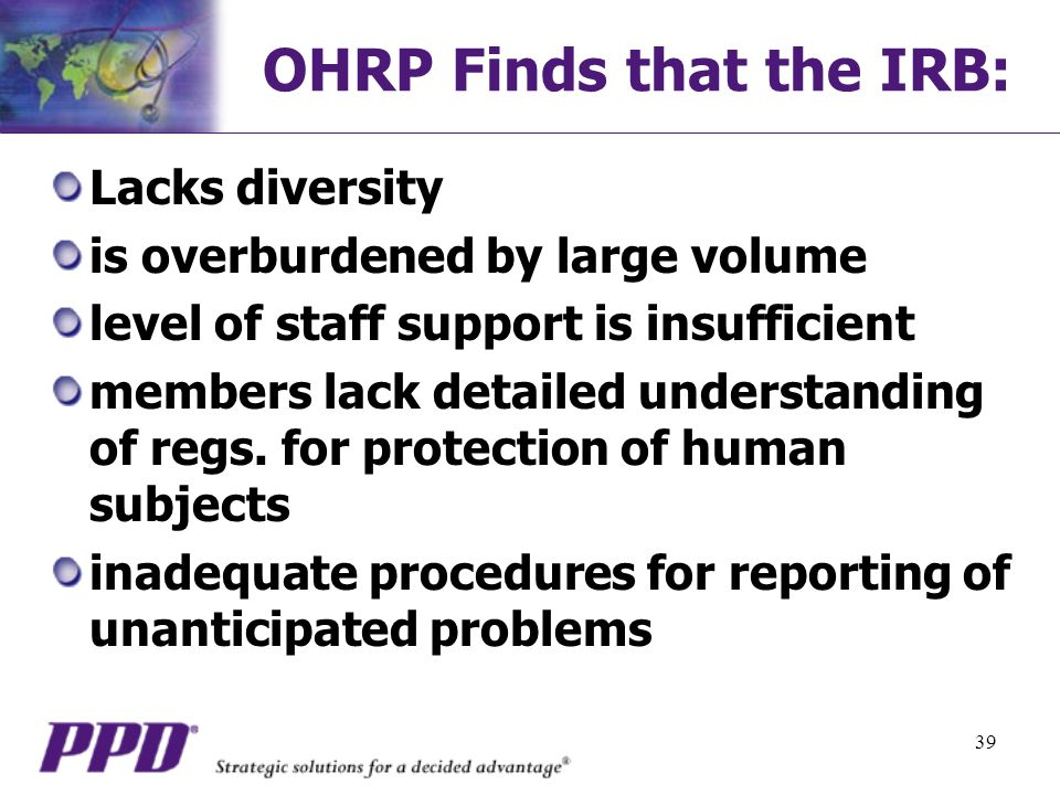 OHRP Finds that the IRB: