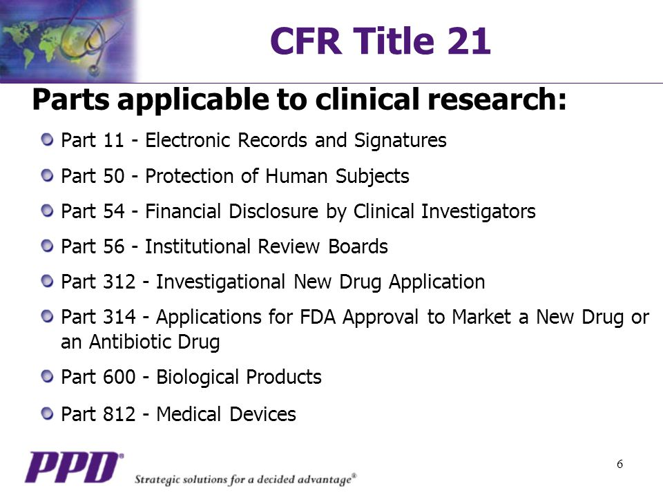 CFR Title 21 Parts applicable to clinical research: