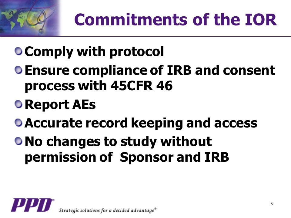 Commitments of the IOR Comply with protocol