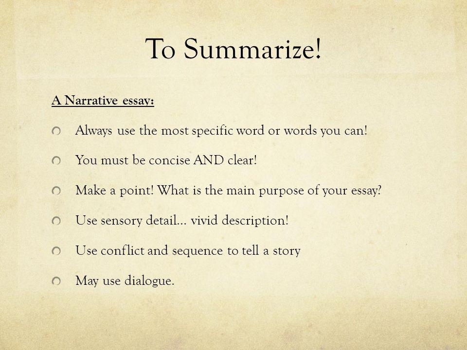 Purpose of narrative essay