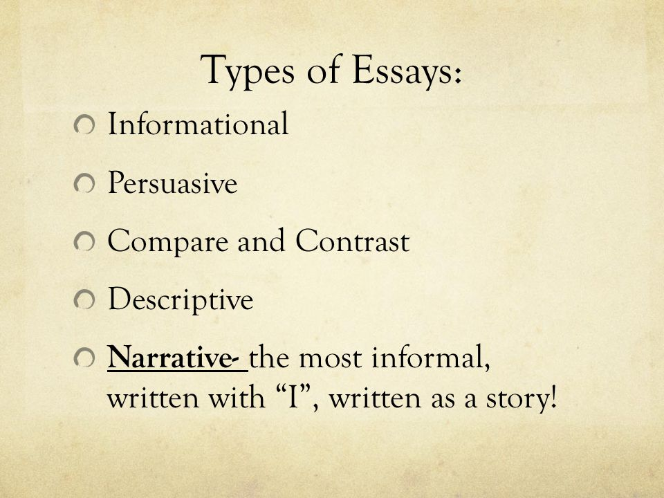 the four types of essay example There are four types of euthanasia, some are perceived as right and others wrong which are identified as either active or passive, and as either a well known example of this was on september 17, 1998, where dr jack kevorkian videotaped himself administering a lethal medication to a patient with.