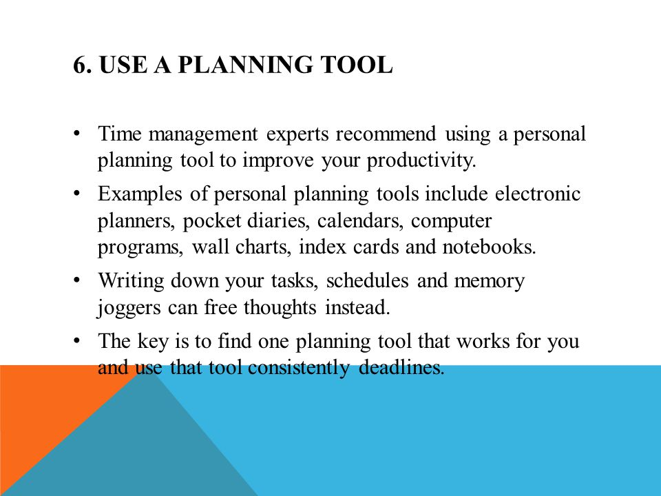 Introduction time management ppt video online download for Online planning tools