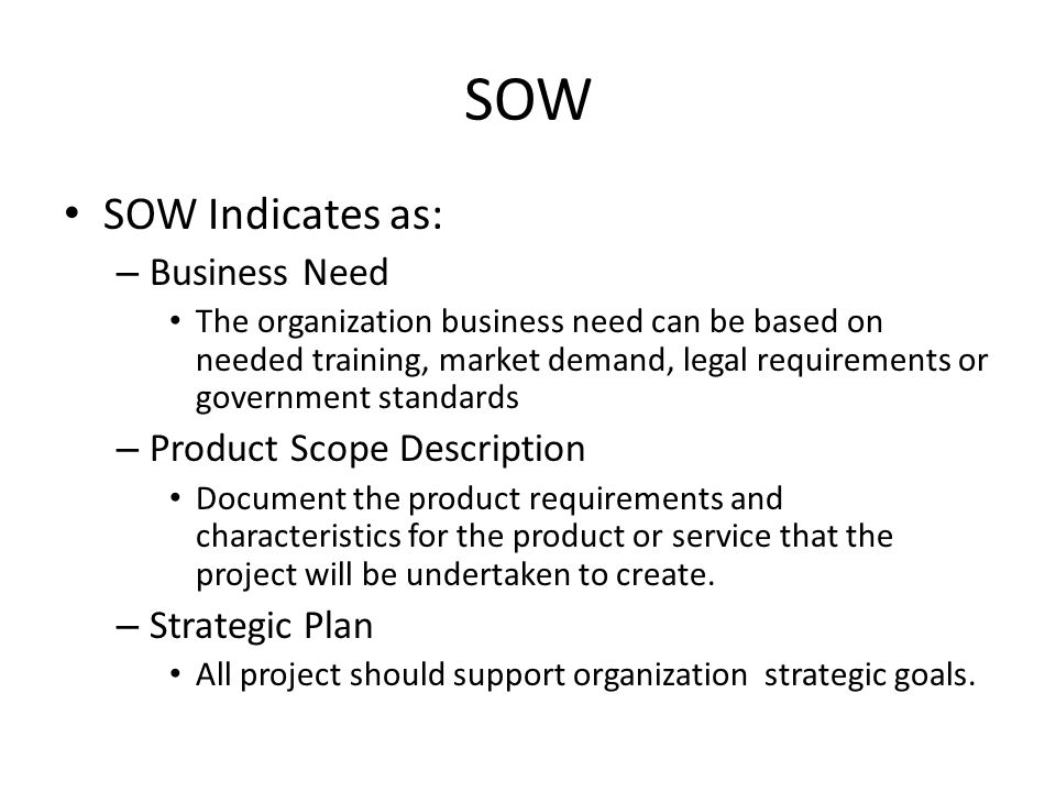 SOW SOW Indicates as: Business Need Product Scope Description