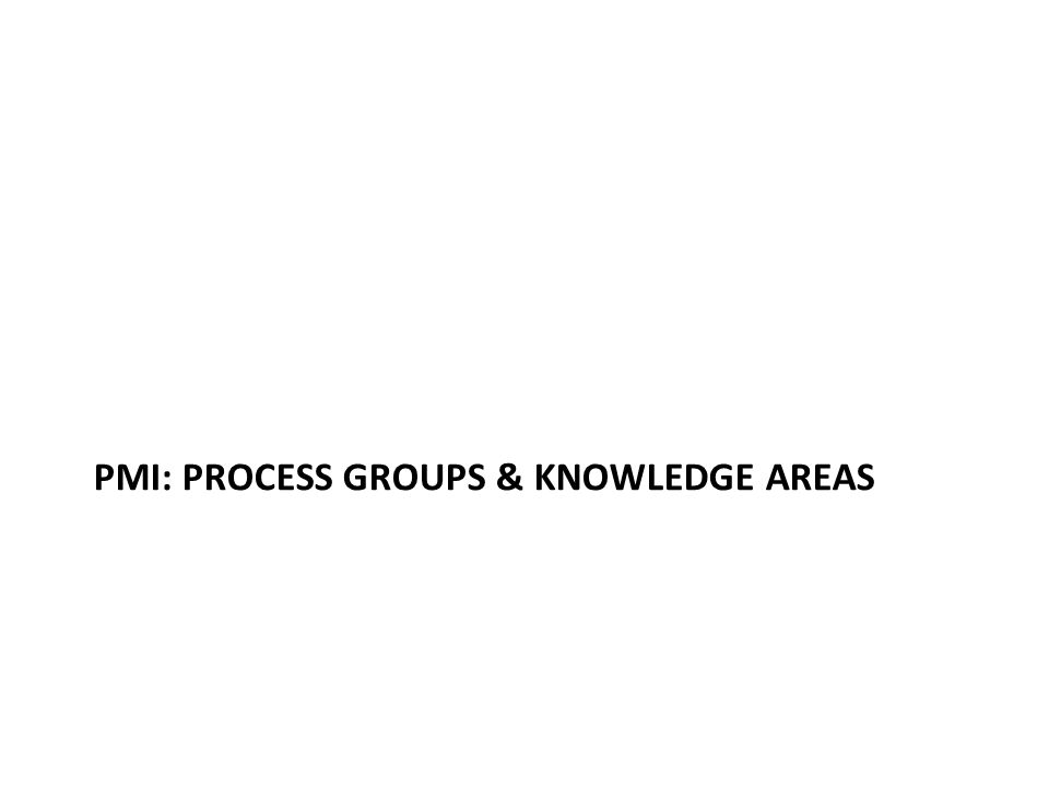 PMI: PROCESS GROUPS & KNOWLEDGE AREAS