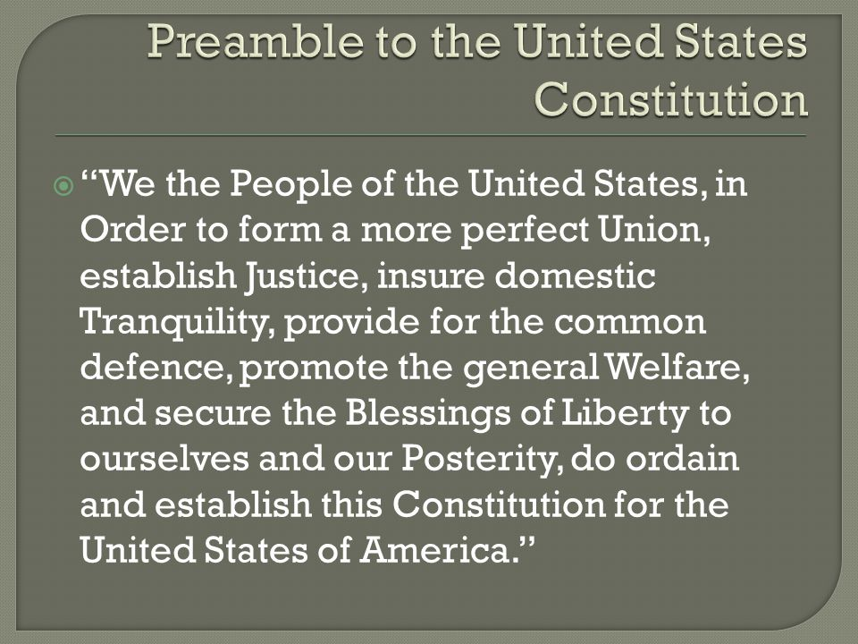 """an analysis of the united states constitution Indeed, the preamble has sometimes been termed the """"enacting clause"""" of the constitution, in that it declares the fact of adoption of the constitution (once sufficient states had ratified it): """"we the people of the united states  ."""