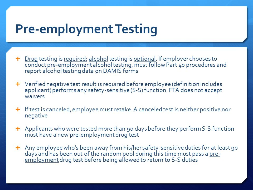 pre employment testing and screening Pre-employment background checks, drug tests, & screening services background checks and other pre-employment screening services are integral parts of the hiring process screening your potential employee with a thorough background check can prevent negligent hiring lawsuits and provide a safer work environment.