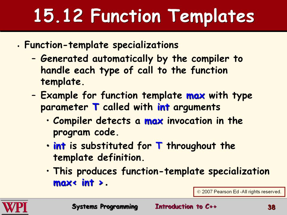 Introduction to c systems programming ppt video online download 1512 function templates function template specializations pronofoot35fo Gallery
