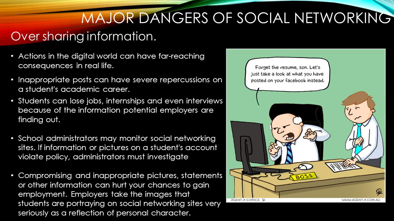 dangers benefits of social networking Social networking services social networking sites such as myspace, facebook and bebo are some of the most popular online destinations for young people today these sites provide home pages on which the user can display their personal 'profile', including information such as their location, interests and tastes as well as photos or videos.