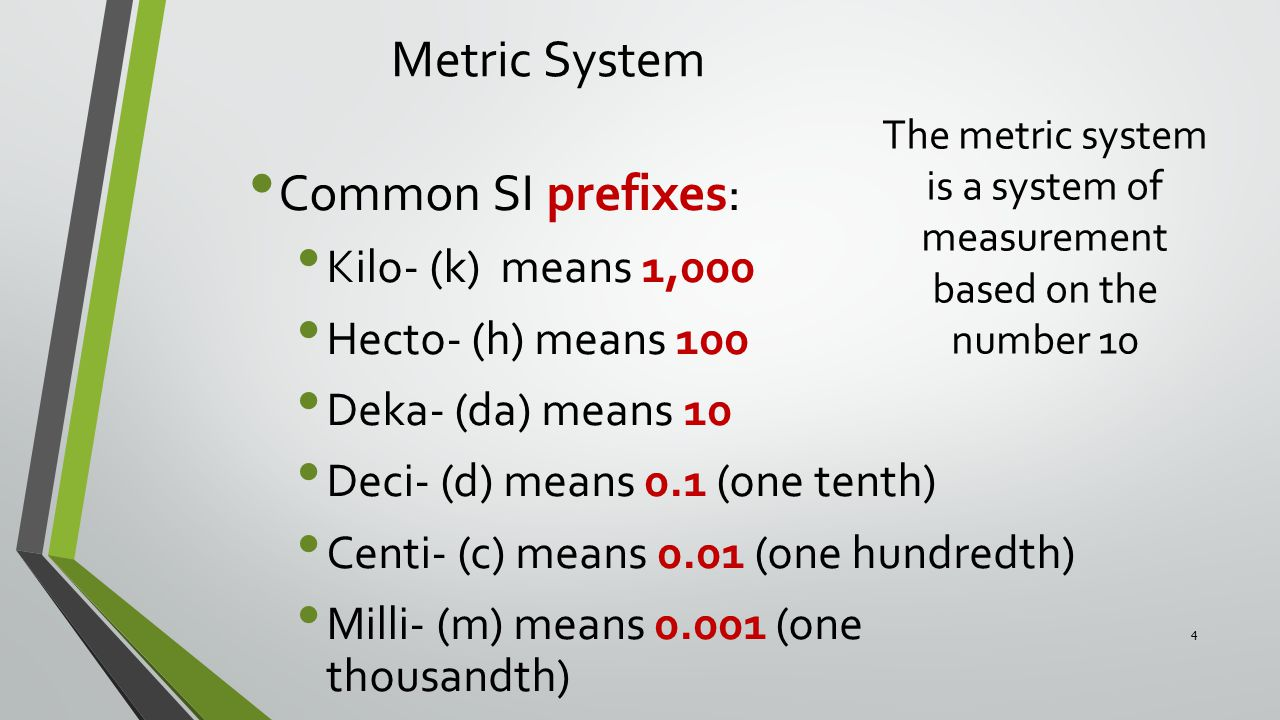 The metric system is a system of measurement based on the number 10