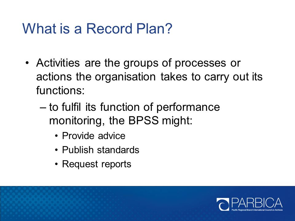 What is a Record Plan Activities are the groups of processes or actions the organisation takes to carry out its functions: