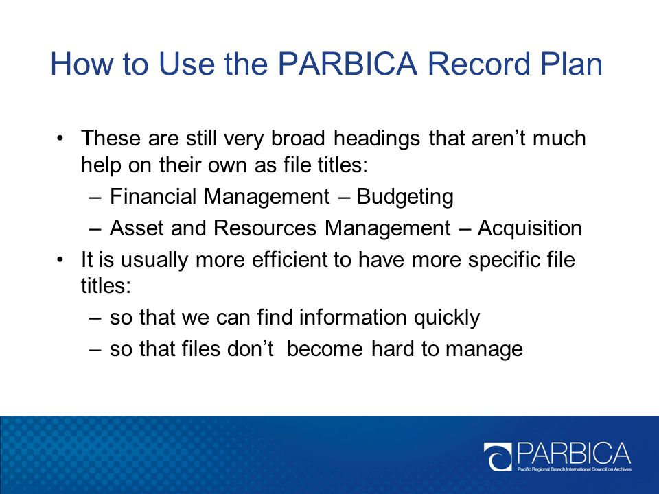 How to Use the PARBICA Record Plan