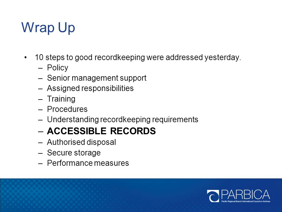 Wrap Up ACCESSIBLE RECORDS