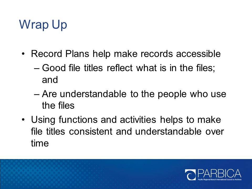 Wrap Up Record Plans help make records accessible