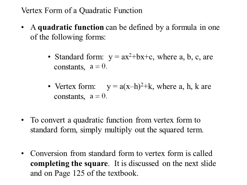 Quadratic Functions A Quadratic Function Is A Function With A