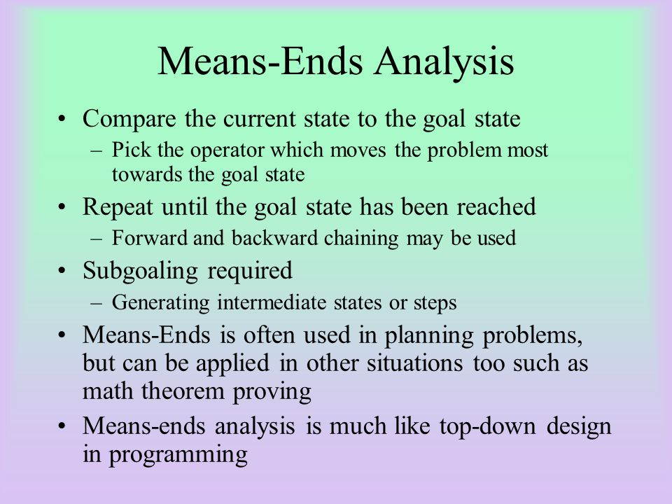 Means-Ends Analysis Compare the current state to the goal state