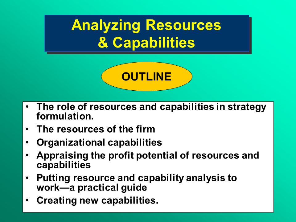 resources and capabilities View 5 resources and capabilities_mba 787(1)pptx from mba 787 at university of nevada, las vegas session (5) mba 787 resources & capabilities 1 analysing resources and capabilities 2 interface.