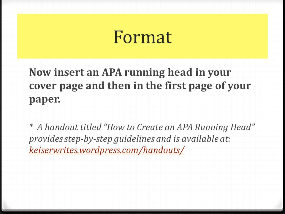 apa title page and running head