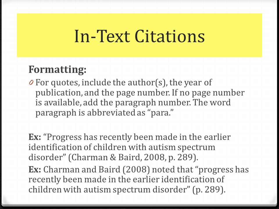 Apa formatting in text citations